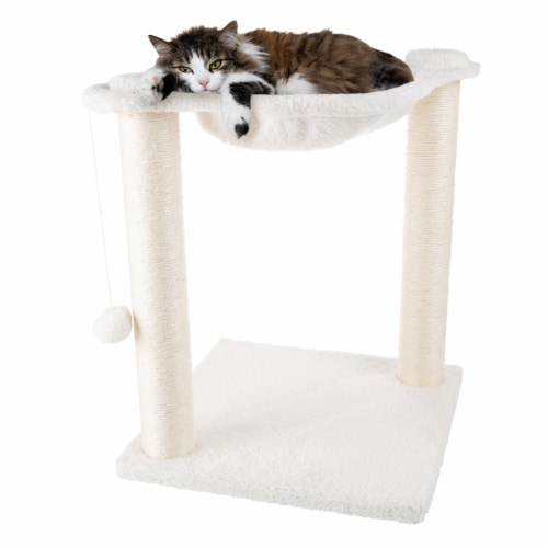 Cat Tree and Scratcher- Two Sisal Scratching Posts, Hammock Style Lounging Bed and Perspective: left