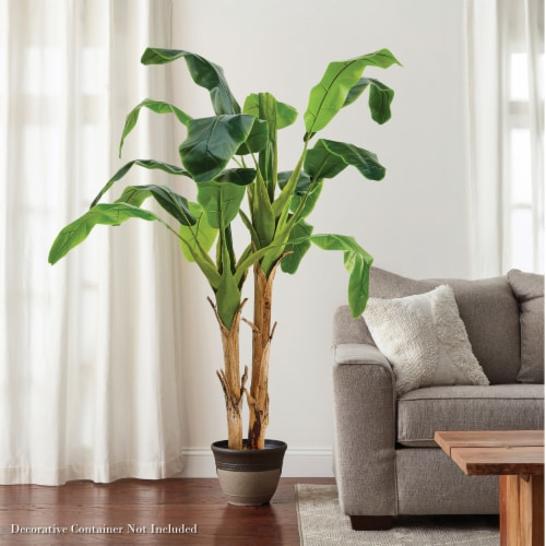 Artificial Banana Leaf Tree 72 Inch Double Trunk Style Faux Plant in Sturdy Pot- Realistic Perspective: left