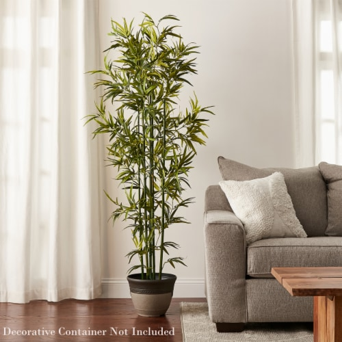 6 Ft. Artificial Bamboo  Tall Faux Potted Indoor Floor Plant for Home  Large and Lifelike by Perspective: left