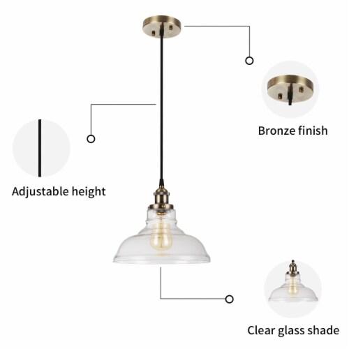 1-Light Clear Glass Pendant Light 2pack Perspective: left