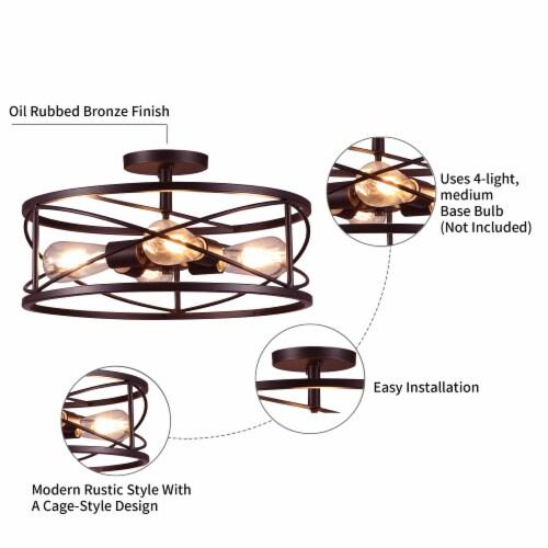 4-Light 17in Caged Drum Semi Flush Mount Light Perspective: left