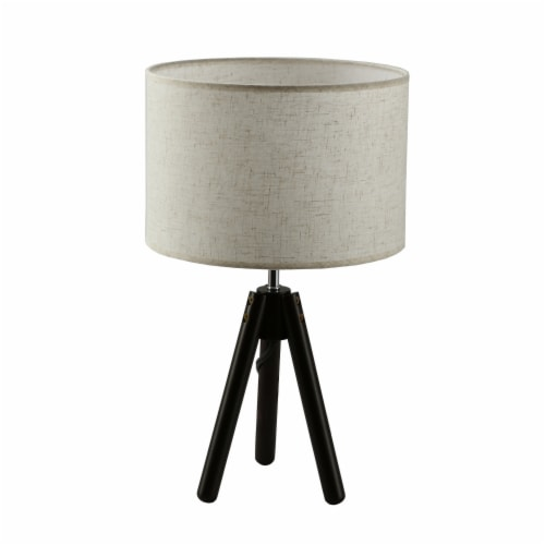 """19""""Dark Bronze  Tripod Table Lamp with round fabric shade Perspective: left"""