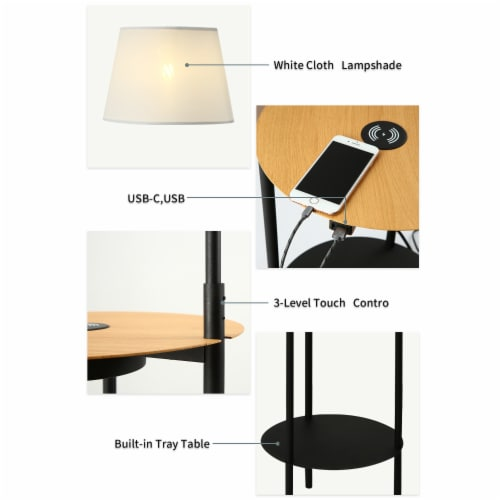 Cedar Hill 65-In Floor lamp  with USB ports wireless charging and table Perspective: left