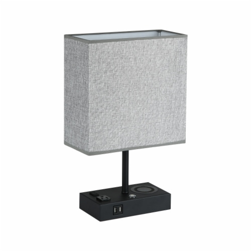 17 in. Wireless Charging Table Lamp with 2 USB Ports and 2 Charging outlets Perspective: left