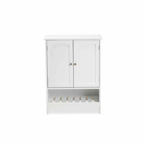Baxton Studio Jaela Modern and Contemporary White Finished Wood 2-Door Bathroom Storage Perspective: left