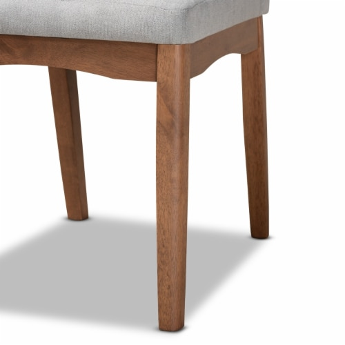 Baxton Studio Tara Light Grey and Brown Finished Wood 2-Piece Dining Chair Set Perspective: left