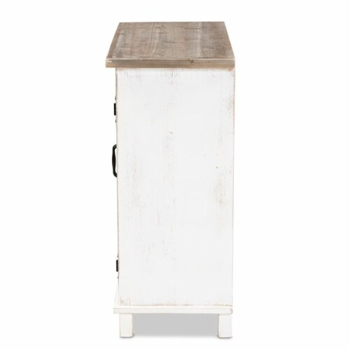 Baxton Studio Faron White and Oak Brown Finished Wood 2-Door Storage Cabinet Perspective: left