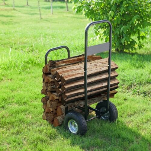 Steel Firewood Log Cart Wood Mover Heavy Duty Hauler Rack on Wheels Dolly Perspective: left