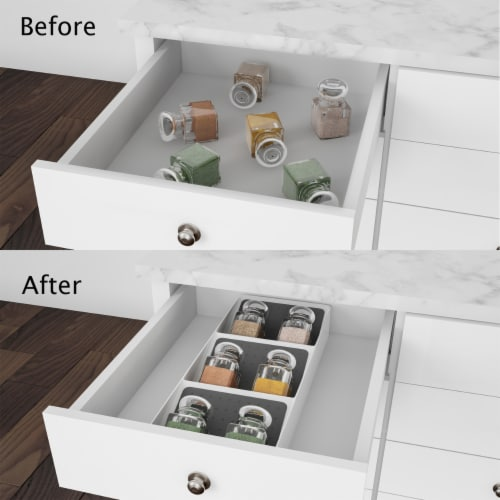 Spice Drawer Organizer 3-Tier Plastic Nonslip Space Saver Storage Rack with Angled Shelves Perspective: left
