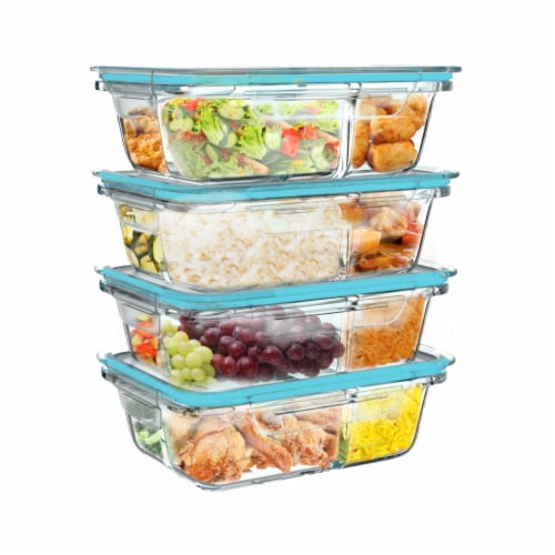 4 Glass Food Storage Containers Three Compartment Portion Control Meal Prep with Snap on Lids Perspective: left