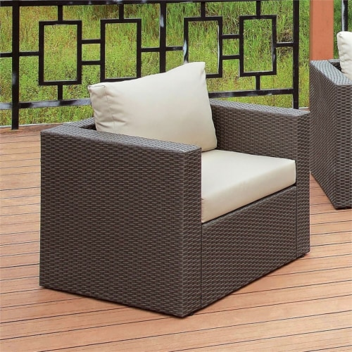 Furniture of America Gin Wicker Patio Arm Chair in Brown and Beige Perspective: left