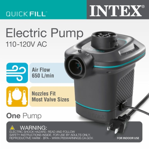 Intex Air Pump w/ 3 Nozzles (2 Pack) w/ Intex Inflatable Couch w/ Cupholders Perspective: left
