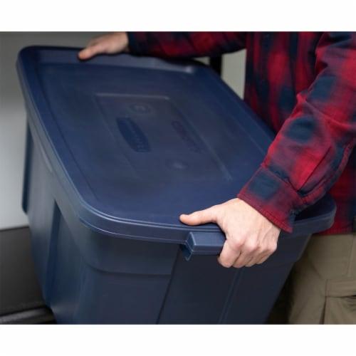 Rubbermaid 31 Gallon Stackable Storage Container, Dark Indigo Metallic (6 Pack) Perspective: left