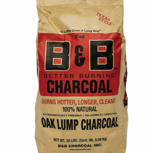 B&B Charcoal Signature Low Smoke Oak Lump Grilling Charcoal, 20 Pounds (2 Pack) Perspective: left