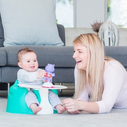 Bumbo Baby Infant Portable Foam Floor Seat with Play Top Tray Attachment, Aqua Perspective: left