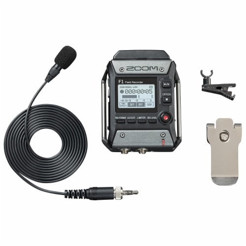 Zoom F1 Digital Sound Recorder with Lavalier Mic and EXH-6 Dual Input Capsule Perspective: left