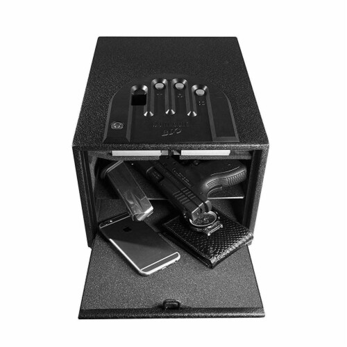 GunVault MultiVault Deluxe Electronic Handgun & Valuables Lock Box Safe (2 Pack) Perspective: left