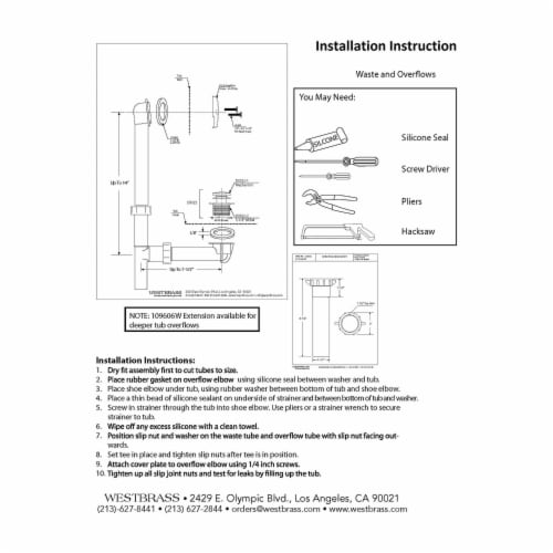 Westbrass 593244-62 1.5 Inch Tip Toe Bath Waste Drain Kit, Satin Nickel (2 Pack) Perspective: left