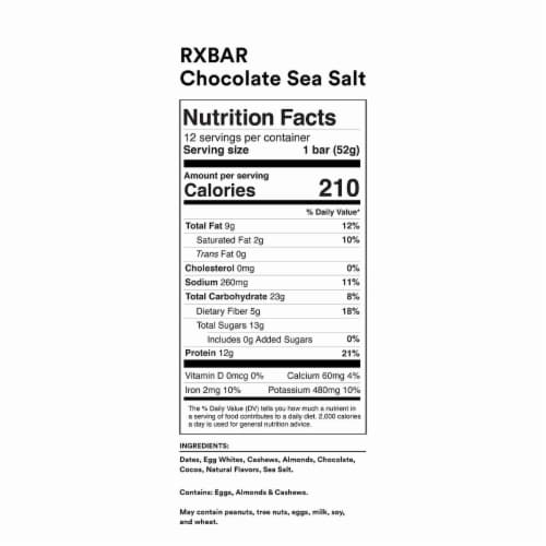 RXBAR Chocolate Sea Salt + Peanut Butter Variety Pack 24 Count Perspective: left