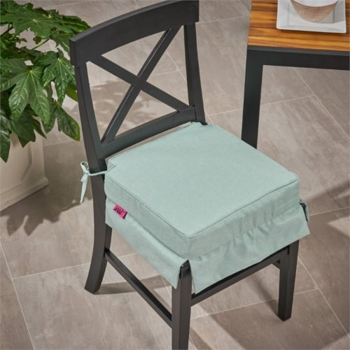 Noble House Old Orchard Outdoor Fabric Skirted Chair Cushion in Teal Perspective: left