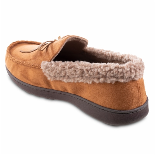 Isotoner® Men's Microsuede and Berber Slippers - Brown Perspective: left