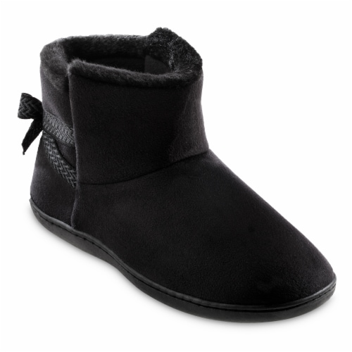 Isotoner­® Women's Microsuede Nelly Boot Slippers - Black Perspective: left