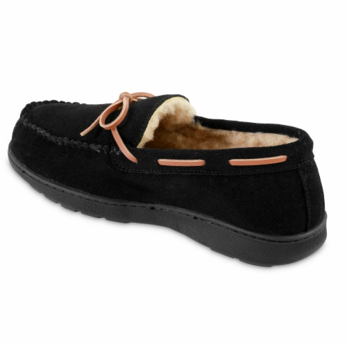 Isotoner­® Genuine Suede Moccasin Men's Slippers - Black Perspective: left