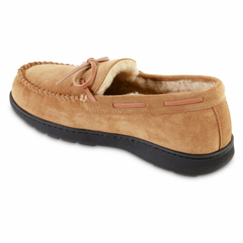 Isotoner® Genuine Moccasin Suede Men's Slippers - Brown Perspective: left