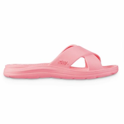 Totes Ara Cross Slide Women's Sandals - Coraline Perspective: left