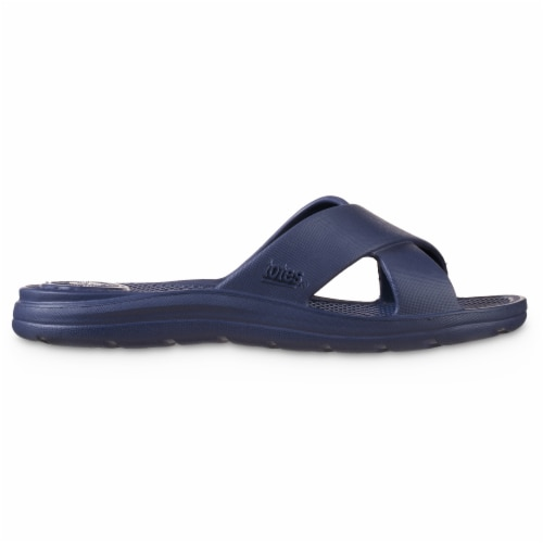 Totes Ara Cross Slide Women's Sandals - Navy Blue Perspective: left