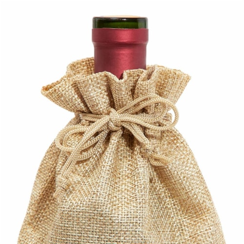 Natural Jute Burlap Wine Gift Bags with Drawstring (13-Inches, 24-Pack) Perspective: left