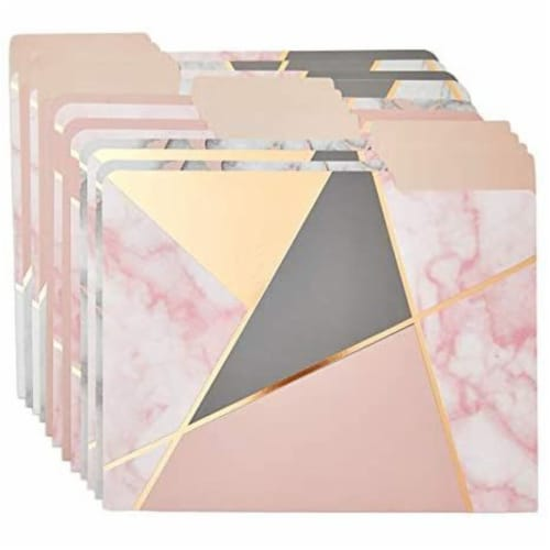 Geometric Marble File Folders, Rose Gold Office Supplies (Letter Size, 12 Pack) Perspective: left