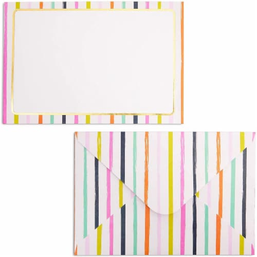 Blank Merci Thank You Cards with Striped Envelopes (6 x 4 Inches, 24 Pack) Perspective: left