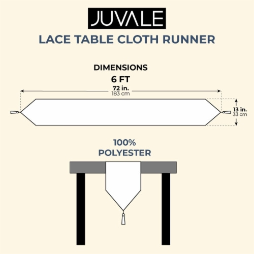 Juvale Lace Table Cloth Runner for Dinners and Parties (13 x 72 in, White) Perspective: left