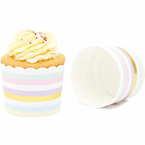 50-Pack Muffin Liners - Pastel and Gold Foil Striped Cupcake Wrappers Paper Baking Cups Perspective: left