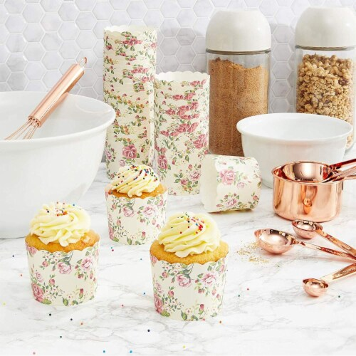 50-Pack Muffin Liners - Vintage Floral Cupcake Wrappers Paper Baking Cups Perspective: left