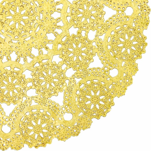 Gold Round Medallion Paper Lace Doilies (12 in, 60 Pack) Perspective: left