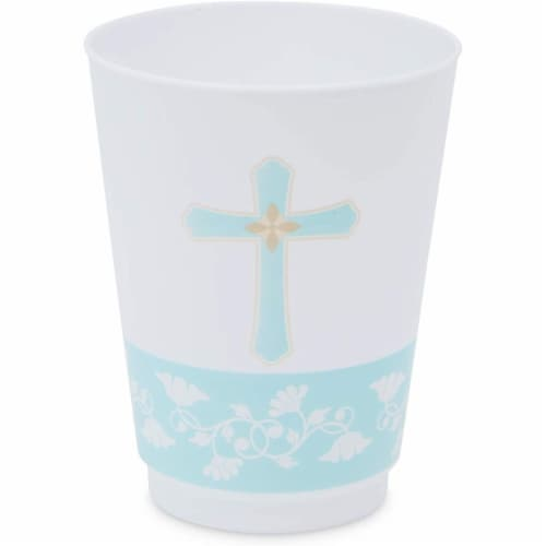 16 oz Baptism Tumbler Cups, First Communion Decorations, Party Supplies (16 Pack) Perspective: left