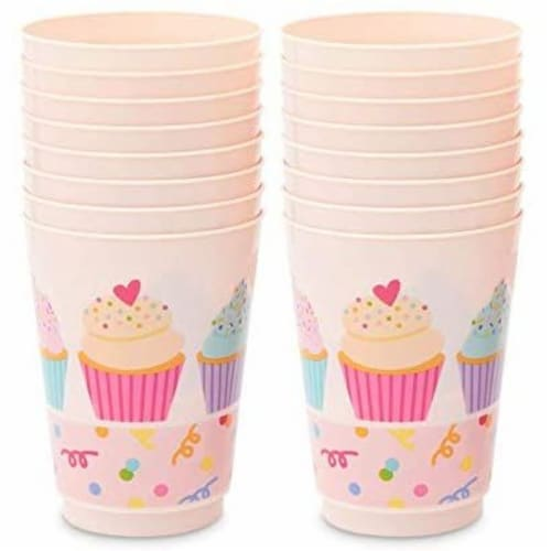 Pink Plastic Tumbler Cups, Cupcake Party Decorations (16 oz, 16 Pack) Perspective: left