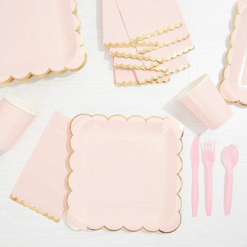 Bright Pink Scalloped Paper Napkins with Gold Foil Edges (4.4 x 7.8 In, 50 Pack) Perspective: left