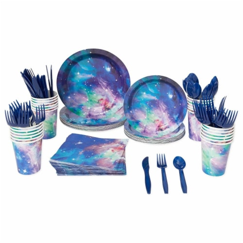 Galaxy Party Pack, Paper Plates, Plastic Cutlery, Cups, and Napkins (Serves 24, 168 Pieces) Perspective: left