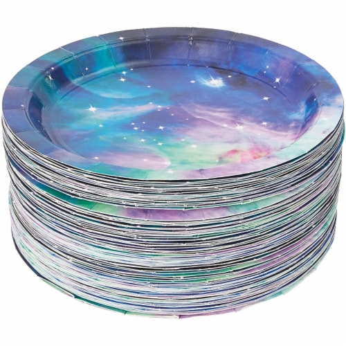 Galaxy Paper Plates for Outer Space Party (7 In, 80 Pack) Perspective: left