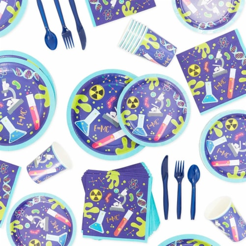 Science Lab Party Pack, Paper Plates, Cutlery, Cups, and Napkins (Serves 24, 168 Pieces) Perspective: left