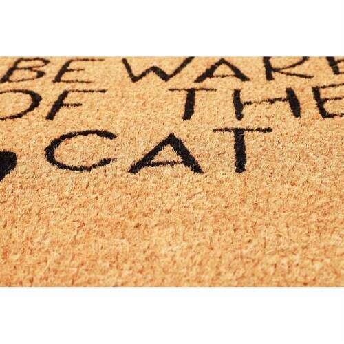 Beware of The Cat Welcome Mat for Front Door, Natural Coir Doormat (30 x 17 in) Perspective: left