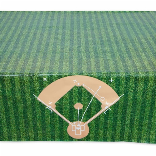 Baseball Tablecloth Birthday Party Plastic Table Cover (54 x 108 in, 3 Pack) Perspective: left
