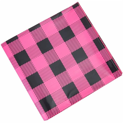 Sparkle and Bash Buffalo Plaid Table Covers for Girl Baby Shower (54 x 108 in, 3 Pack) Perspective: left