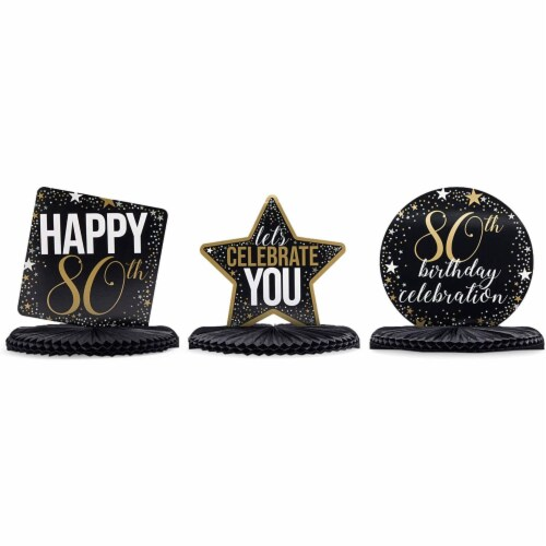80th Birthday Party Honeycomb Centerpiece Decoration (12 x 11 In, 6 Pack) Perspective: left