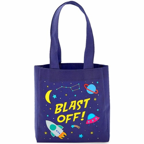 Outer Space Party Favor Tote Bags, Blast Off (6.5 x 7 x 1.77 In, 24 Pack) Perspective: left