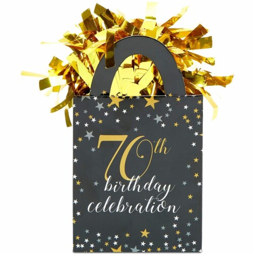 70th Birthday Party Balloon Weights, Black and Gold Decorations (6 oz, 6 Pack) Perspective: left