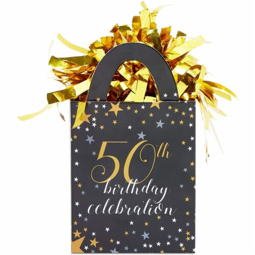 50th Birthday Party Balloon Weights, Black and Gold Decorations (6 oz, 6 Pack) Perspective: left
